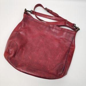 Frye Sangria XL Red Melissa Leather Hobo Crossbody